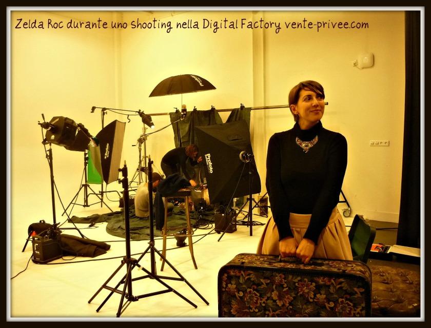 Zelda Roc durante uno shooting nella Digital Factory vente-privee.com