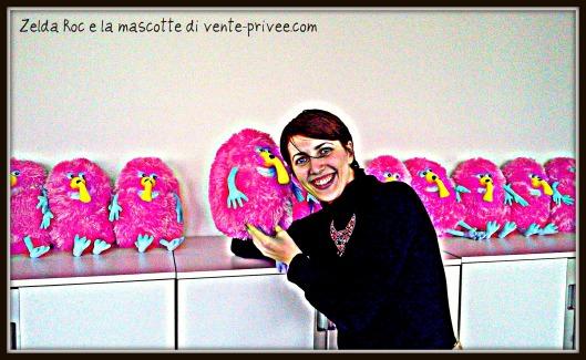 Zelda Roc con la mascotte di vente-privee.com
